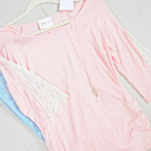 Pink Lace Sleeve Top