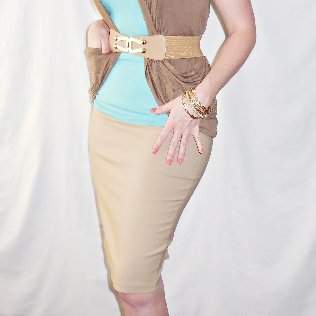 Everyday Elegance Ponte Pencil Skirt in Tan