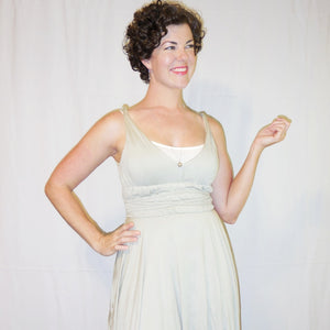 Around the World Wrapped Bodice Dress in Olive