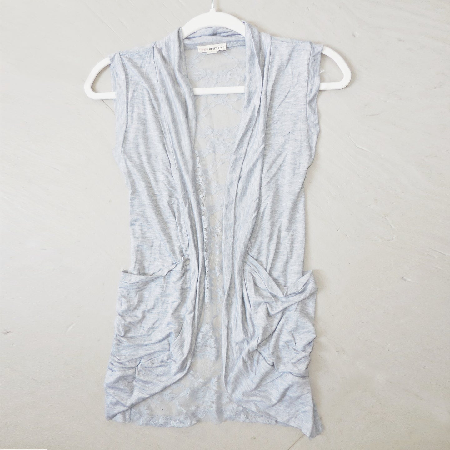 Making Memories Lace Back Vest in Lt Gray