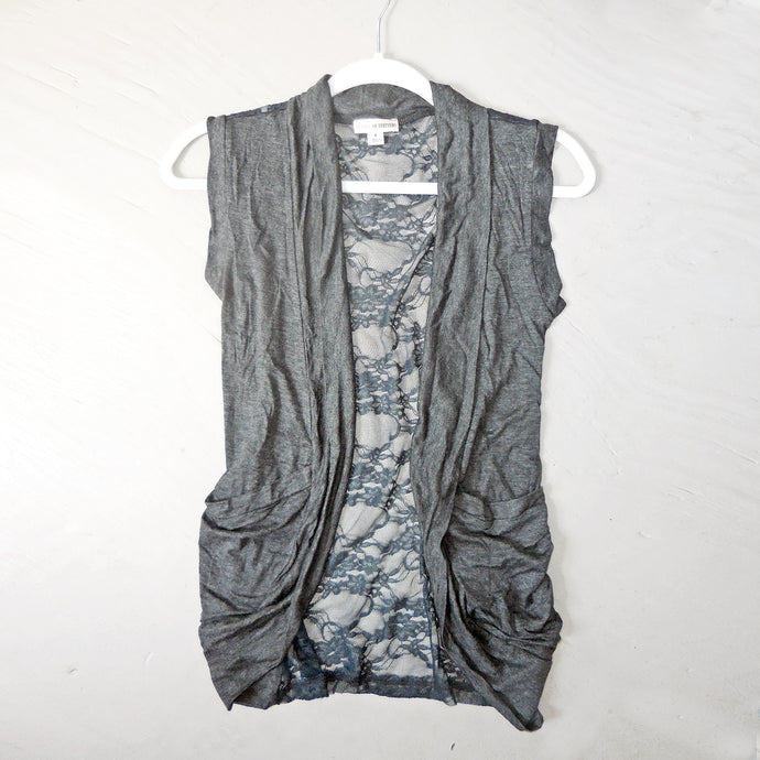 Making Memories Lace Back Vest in Charcoal