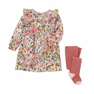 Baby Girl Vintage Floral Dress with Tights