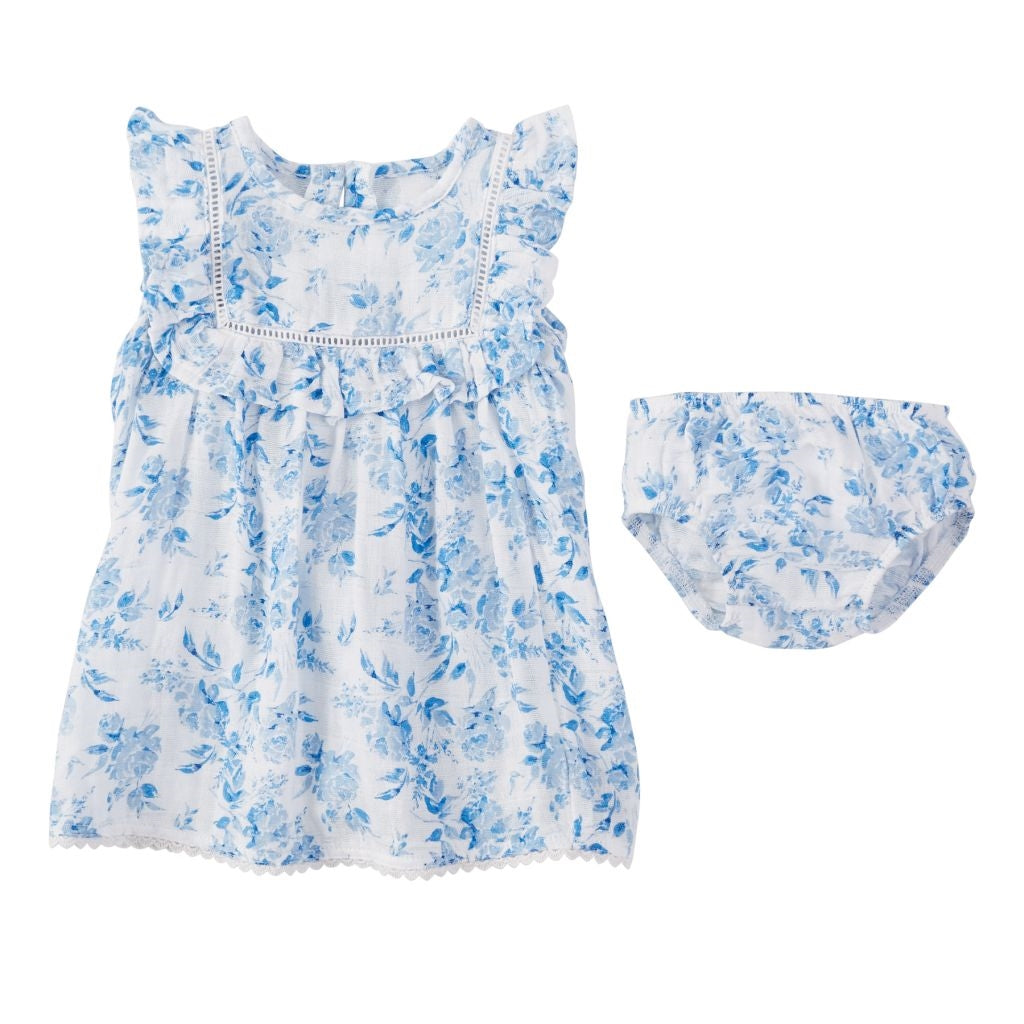 Sweet Baby Girl Muslin Rose Dress in Blue