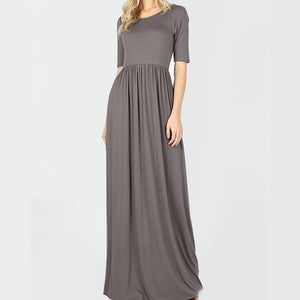 Gray Viscose Maxi Dress