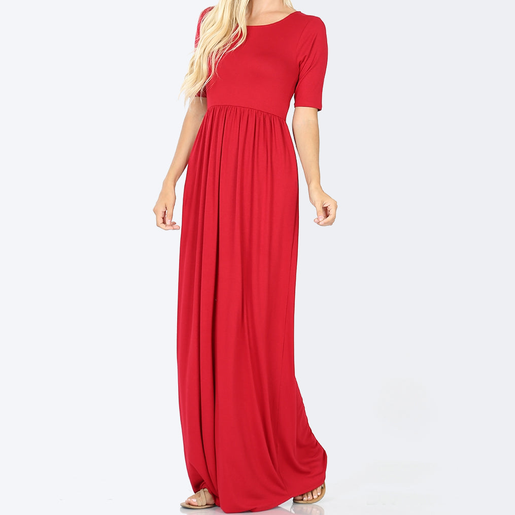 Red Viscose Maxi Dress