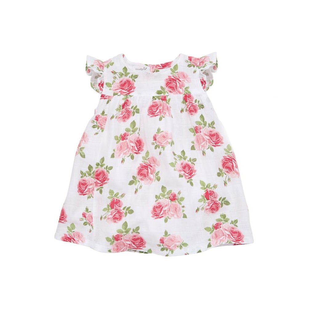 Sweet Toddler Girl Muslin Rose Dress