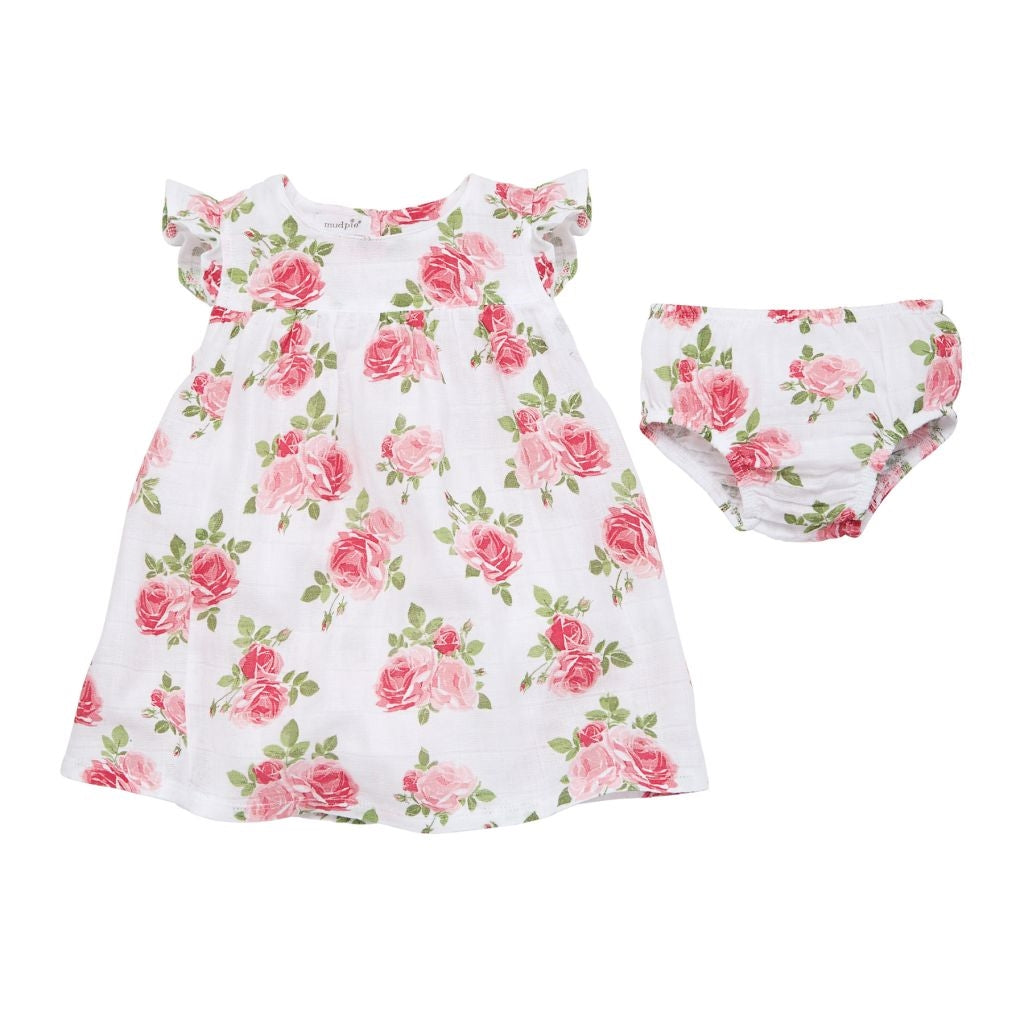Sweet Baby Girl Muslin Rose Dress with Bloomers
