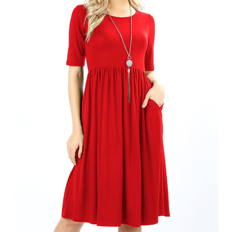 Up a Lazy River Viscose Dress in Red