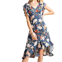 Load image into Gallery viewer, Love Happens Floral Ruffle Dress in Navy