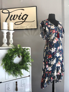Love Happens Floral Ruffle Dress in Navy