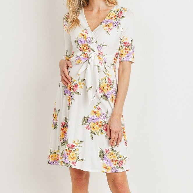 Be My Baby Floral Surplice Dress in White MATERNITY