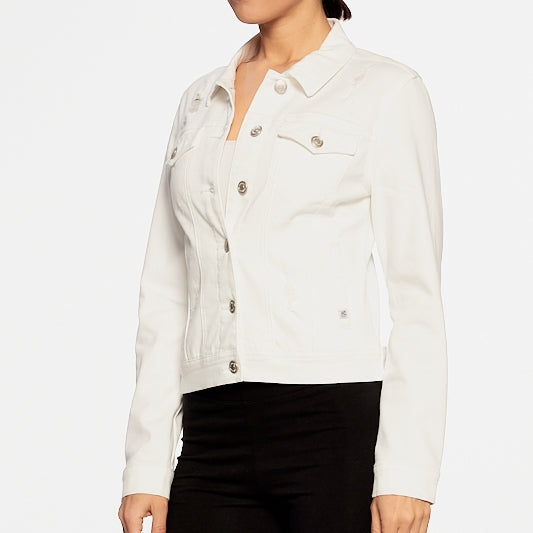 Date Night Stretch Denim Jacket in White