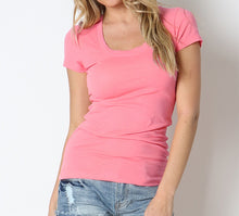 Load image into Gallery viewer, Keeping it Basic Cotton Tee in Coral