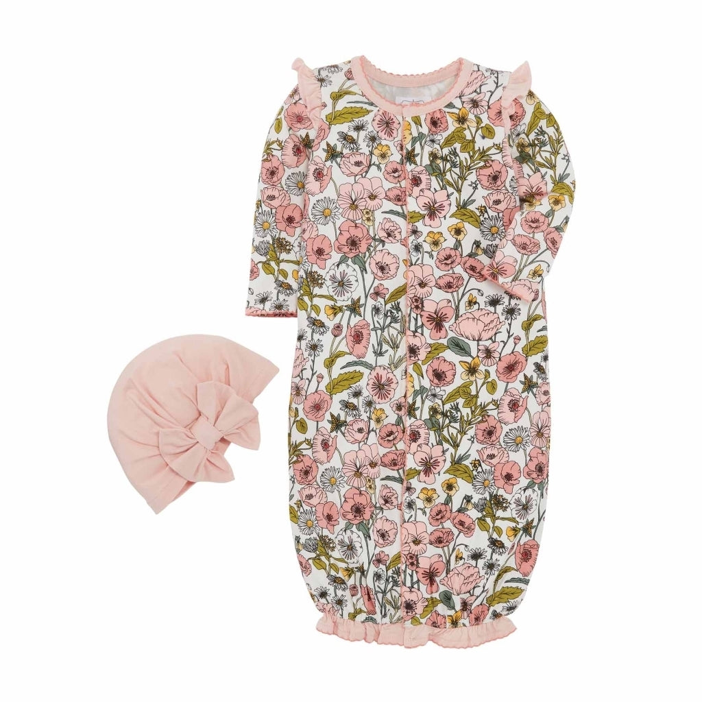 Baby Girl Vintage Floral Convertible Sleeper with Hat