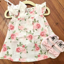 Load image into Gallery viewer, Sweet Baby Girl Muslin Rose Dress with Bloomers