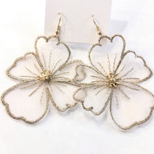 Load image into Gallery viewer, Lace Flower Earrings in Beige