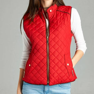 Piping Hot Quilted Vest in Red