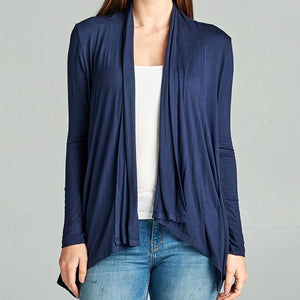 On an Evening in Roma Open Drape Cardigan in Navy
