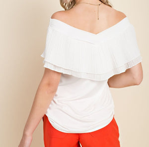 Isn't it Romantic Off Shoulder Ruffle Top in Off White