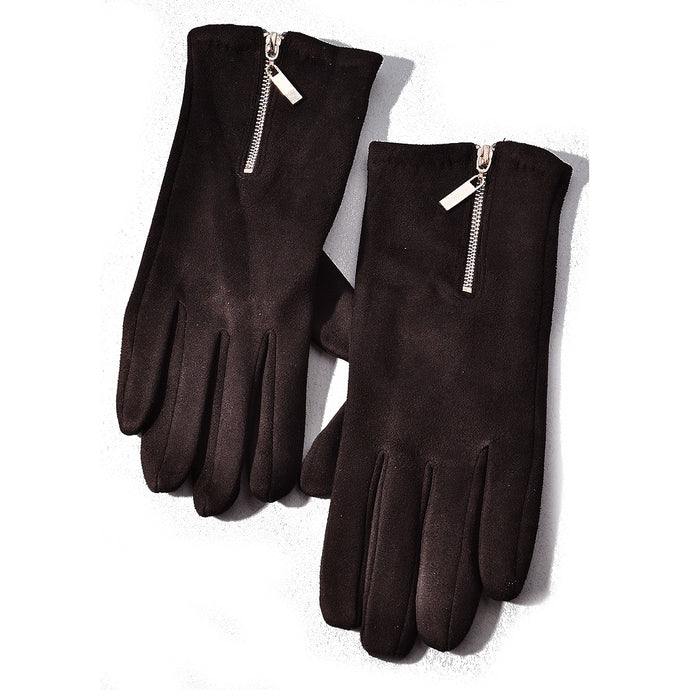 Gloves with Zipper Detailing in Black