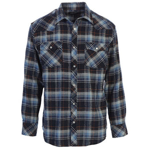 Flannel Western Shirt in Blue MEN