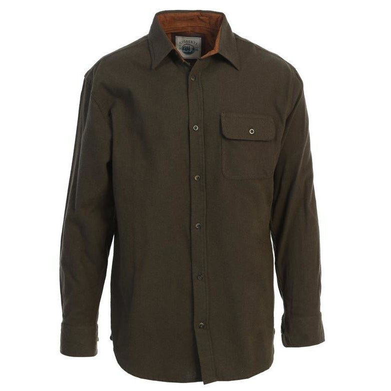 Cotton Flannel Shirt in Olive MEN