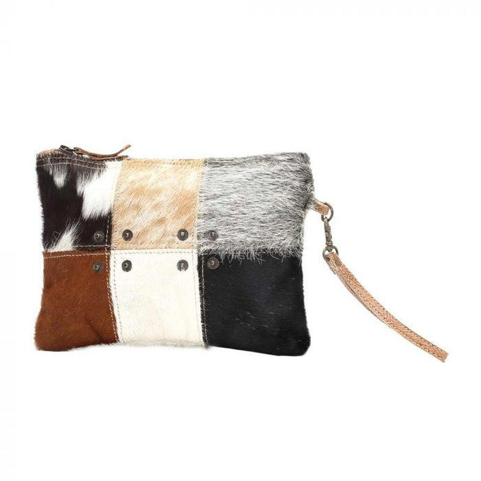 Button Hairon Small Bag Cowhide Patchwork Pouch by MYRA