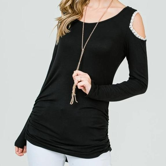 Keeping it Classic Cold Shoulder Top in Black