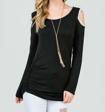 Load image into Gallery viewer, Keeping it Classic Cold Shoulder Top in Black