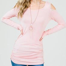 Load image into Gallery viewer, Keeping it Classic Cold Shoulder Top in Blush