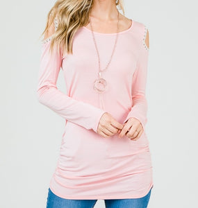 Keeping it Classic Cold Shoulder Top in Blush
