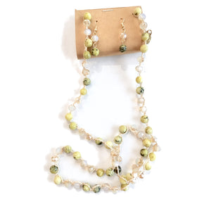 Lime Crocheted Beaded Necklace Set