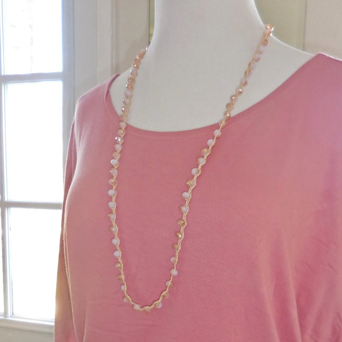 Pink Crocheted Beaded Necklace Set