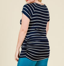Load image into Gallery viewer, You're My Favorite Striped Top in Navy PLUS