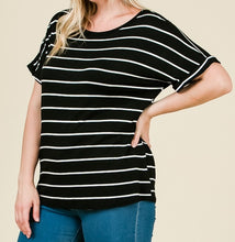 Load image into Gallery viewer, Nice and Easy Striped Top in Black PLUS