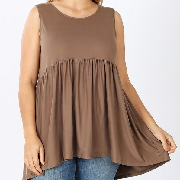 Let's Get Away from it All Babydoll Top in Mocha PLUS