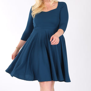 Best Dress Award Fit and Flare Dress in Teal PLUS