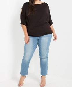 Tres Chic Cold Shoulder Top in Black PLUS