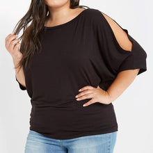 Load image into Gallery viewer, Tres Chic Cold Shoulder Top in Black PLUS