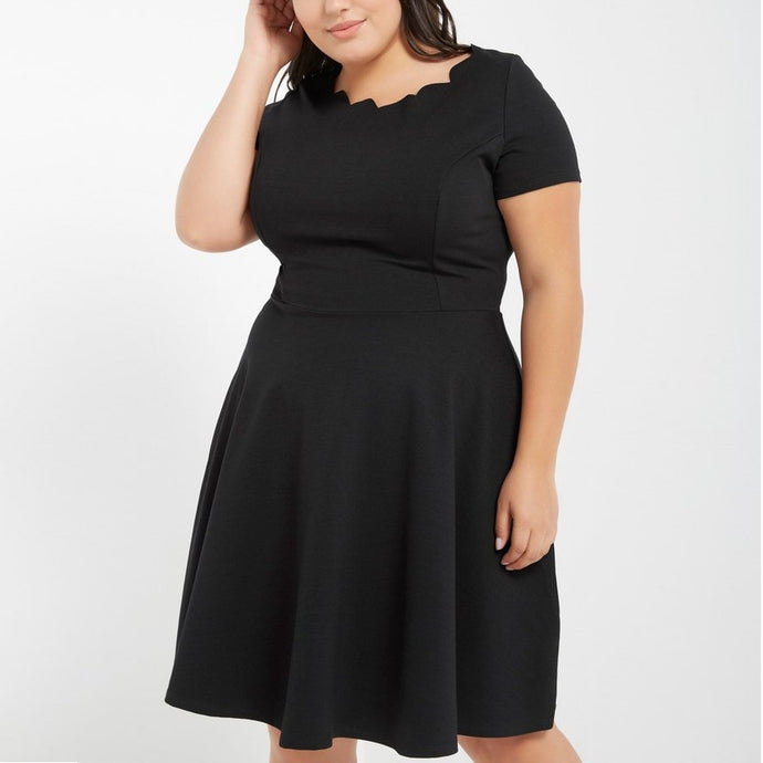 Lovely to Look at Scallop Hem Dress in Black PLUS