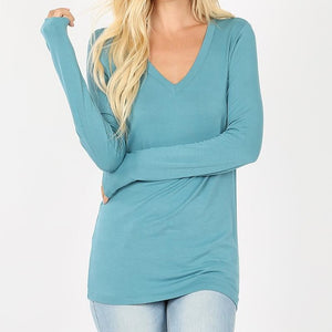 Classic Comfort Rayon V-Neck Top in Sea Foam