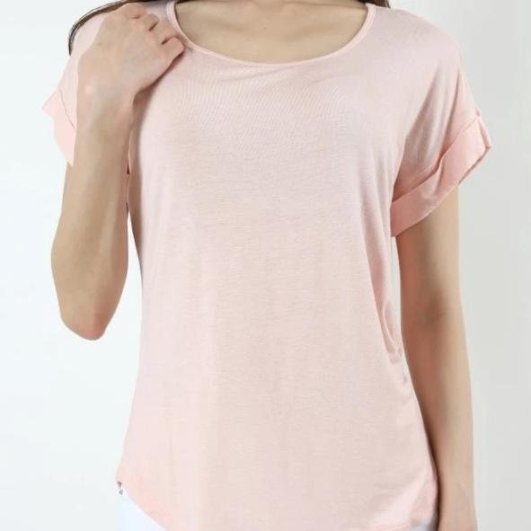 Zenana Easy Come Easy Go Folded Sleeve Top in Pink