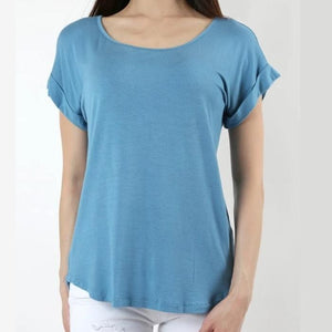 Easy Come Easy Go Folded Sleeve Top in Blue