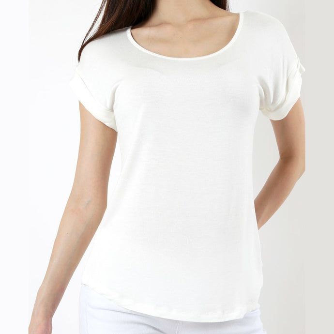Easy Come Easy Go Folded Sleeve Top in Ivory