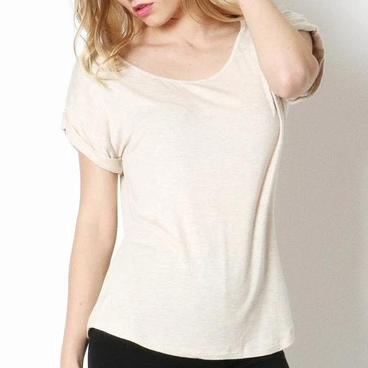 Zenana Easy Come Easy Go Folded Sleeve Top in Oatmeal
