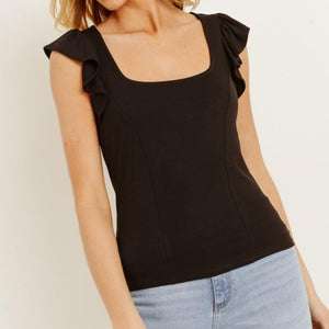 That's Amore Ruffle Sleeve Top in Black