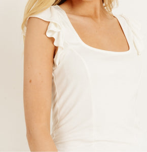 That's Amore Ruffle Sleeve Top in Ivory