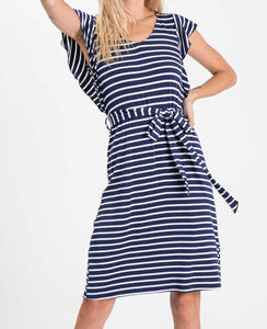 Let's Stay Home Striped Dress with Flutter Sleeves
