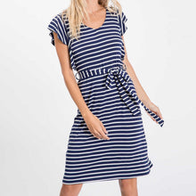 Load image into Gallery viewer, Let's Stay Home Striped Dress with Flutter Sleeves
