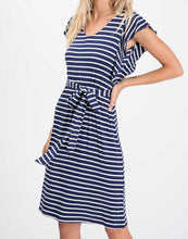 Load image into Gallery viewer, The Vivienne Striped Dress in Navy